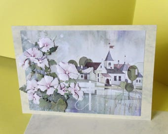 Card 3D landscape and flowers