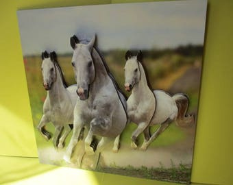 3D (embossed) table 3 galloping white horses