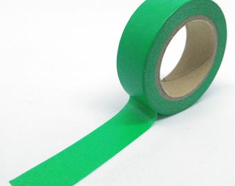 Washi Tape plain intense green 10Mx15mm