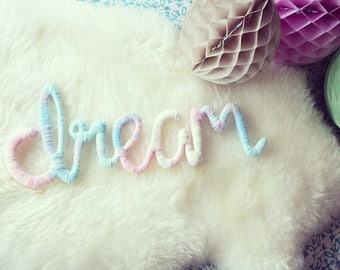 Lilibet Dream Pastel Ombré Sign | Handmade Wall/Shelf Decoration | Unique and Fun Wool Art | Nursery/Child's/Adults Bedroom