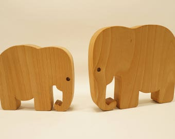 Wooden elephant toy - set of two- Handmade Natural Wood