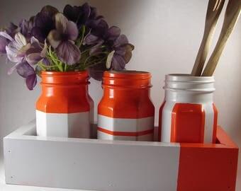 Kitchen Organization | Bathroom | Craft Room | Color Blocking | Mason Jars | Tray | Color Block | Attention Grabbing | Orange | White