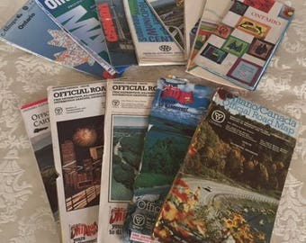 Lot of 12 Ontario Road Maps 1970s and 1980s