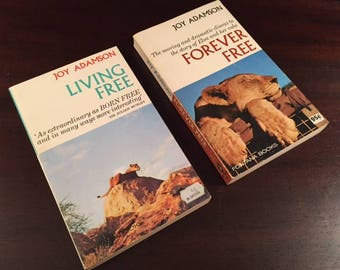 Vintage Books Living Free and Forever Free By Joy Adamson Sequels to Born Free 1960s