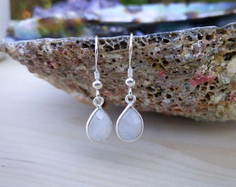 Rainbow Moonstone Sterling Silver Earrings//Glowing Blue Moonstone//Gift for Her//June Birthstone//Birthday//Healing Crystals//Boho Earrings