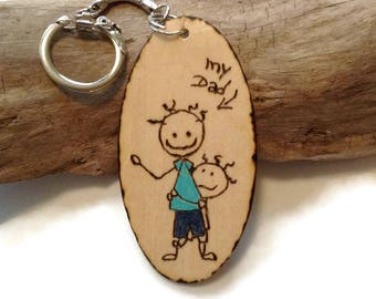 Wooden Father's Day Keychain, Father's Day Bookmark, Father's Day Key Magnet, woodburned,Gift For Dad, # 1 Dad, Wood Burned Keepsake For Dad