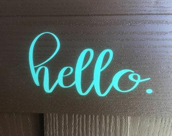 Front Door Vinyl Saying, Hello, Welcome, Good-Bye, Front Door Decor