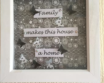 Handmade 7inch white wooden box frame- Family makes this house a home