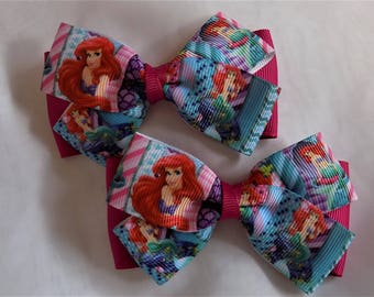 Ariel the Little Mermaid Hair Bow - Girls Hair Bow, Toddler Hair Bow, Pigtail Hair Bow, Hair Bow, Disney Hair Bow, Ariel, Pink and blue bow