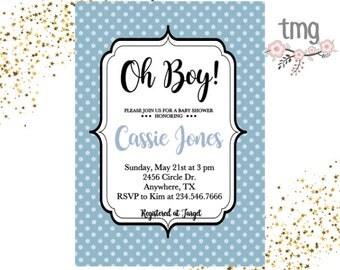 Boy baby shower Invitation, Baby Shower invites, Oh Boy, Blue invitations, Digital file, Baby Shower