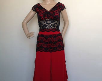 Argentine Tango culottes in red with black lace detail in small size