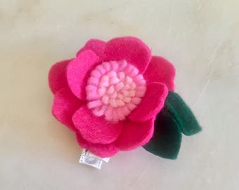 Magenta and Pink Felt flower Hair Clip