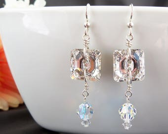 Swarovski Crystal and Sterling Silver Earrings, Clear Swarovski Earrings, Handmade, Swarovski  Crystal Aurora Borealis, Crystal Button Beads