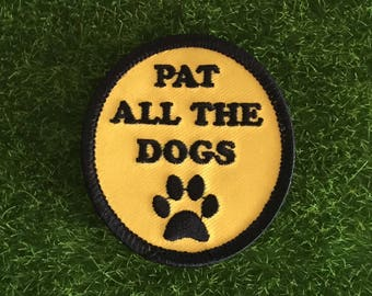 Pat All The Dogs yellow iron on patch embroidery dog dogs accessory