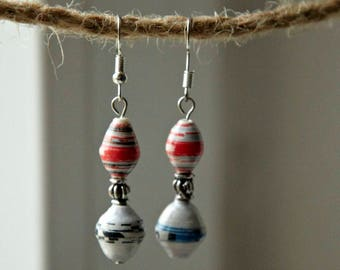 Paperbead: Earrings made of paper beads in white, red and blue