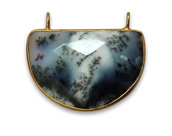 Dendritic Opal Half Moon Shape 20X30 MM Silver 925 Bezel Pendant With Vermeil Polish