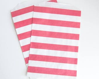 Striped Party Treat Bags - Red