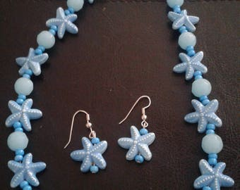Blue starfish bead necklace with matching earings