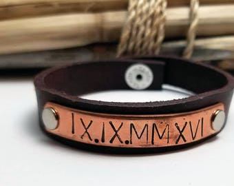 Christmas Gift for Husband,  Roman Numerals, Leather Bracelet, Leather Bracelet for Him, Gift for Husband, Gift for Boyfriend, Fiance