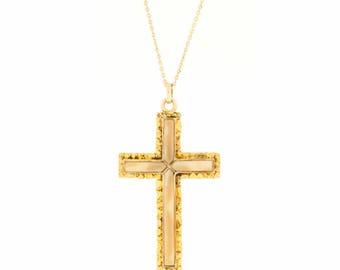 Vintage Native Gold Nugget Cross Pendant