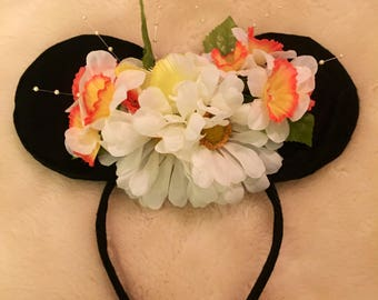 Mickey inspired floral mouse ears headbands