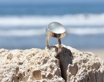 Sterling Silver Green Beach Glass Ring