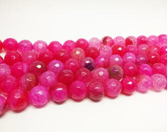 Agate Beads Pink Agate Beads 12mm Agate Beads Hot Pink Agate Beads  12mm Agate Beads Pink Faceted Beads for Jewelry Supplies Jewelry Beads