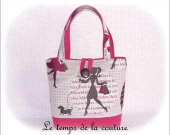 "Small tote bag - shades of pink, fuchsia, gray, and taupe pattern ""shopping"" - handmade."