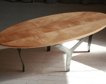 Oval Coffee Table in Salvaged Tiger Maple with Blackened Steel Legs