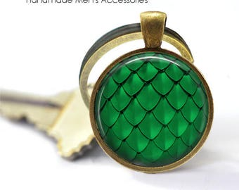 DRAGON SCALES Key Ring • Green Scales • Dragon Scales • Mermaid Scales • Fish Scales • Gift Under 20 • Made in Australia (K413)