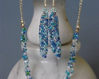Light blue glass bead earring and necklace set
