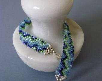 Blue green zig-zag loom bracelet