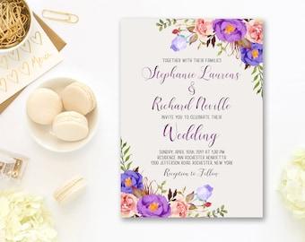 Wedding Invitation Suite Printable Floral Digital Purple Violet Lavender Wedding Invitation Bohemian Bridal Wedding Invite WS-038