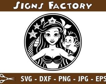 Little Mermaid svg, Mermaid clipart, Disney svg, Ariel svg silhouette, digital – svg, eps, png, dxf, pdf. Fabric Cut Print Mug Shirt Decal