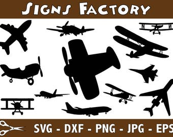 Old Planes Svg, Old Planes Clipart, Airplanes Cut files, planes dxf, Silhouette cameo and cricut files, printable airplanes Clip Art