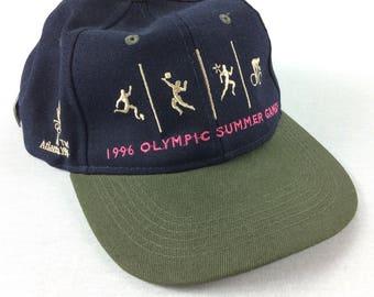 Vintage 90s 1996 Olympic Summer Games Hat Atlanta GA NWT Champion Blue Adjustable Strapback Cap - RARE