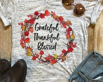 Grateful Thankful Blessed Shirt Thanksgiving Shirt Mom Shirt Trendy Shirt Birthday Gift for her Boho Tee Fall T shirt Floral Shirt