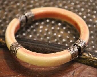 Antique Chinese Carved Bovine Bone White Metal Bangle Bracelet