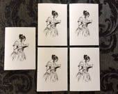 Literary Cards - Set of Five A7 Notecards Depicting a Lady Reading, with Kraft Envelopes. For Book Lovers.