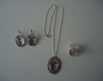 "#Eté ""perfume bottle"" pendant necklace and earrings + ring"