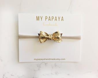 Gold bow   Glitter bow   baby headband   baby girl  