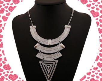 Cleopatra Chandelier statement necklace. Silver statement necklace