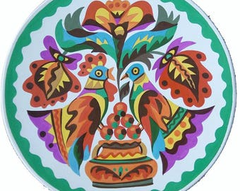 Floral plate / ukranian ornament / roosters decor / home decor / handpainted / green plate / Wall plate / ukrainian art plate