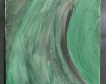 Original Abstract Painting Green/Black Acrylic