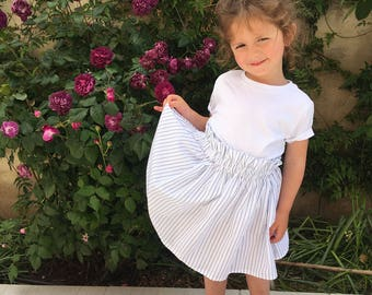 Skirt white Valentine blue Pinstripe 2 to 6 years