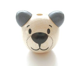 Wooden 3D Teddy bear head bead - natural & gray