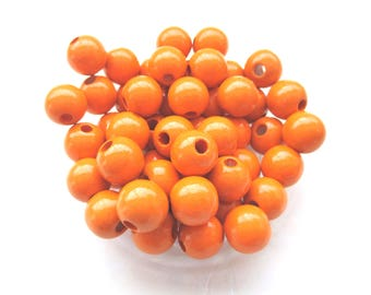 50 wooden 10mm - Tangerine pacifier beads