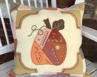 Handmade Patchwork Pumpkin Embroidered Pillow with Quilted Back