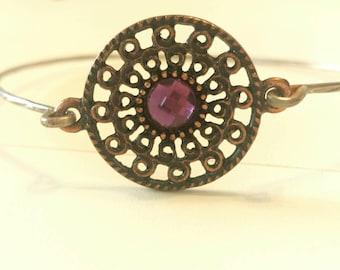 Found Object Purple Stone Stackable Bangle Bracelet C