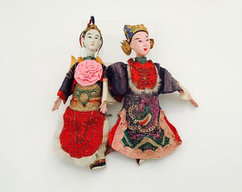 A pair of Antique Chinese Opera Dolls.